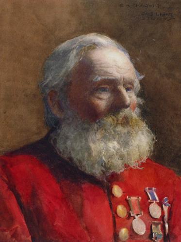 "Ernest Albert Chadwick RI 1876-1955 ""Gas-Light Study"" watercolour"