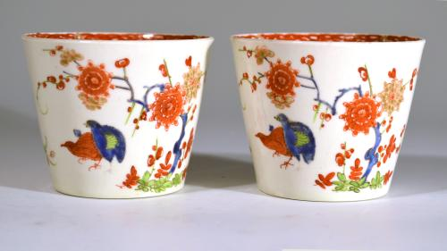 First Period Worcester Porcelain Beakers with Kakiemon Double Quail Design