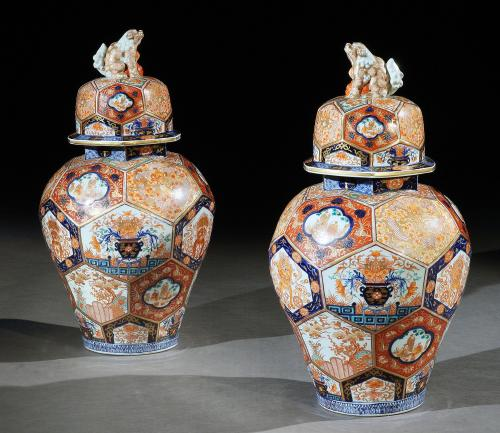 A Pair of Large Scale 19th Century Japanese Imari Vases