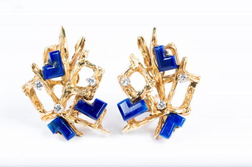 Kutchinsky Gold Earrings set with Lapis Lazuli circa 1960