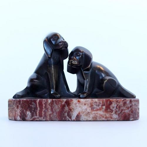 Armand Lemo bronze dogs