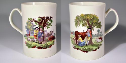 First Period Worcester Polychrome Porcelain Tankard Decorated with The Milking Scene (No.1) and Rural Lovers