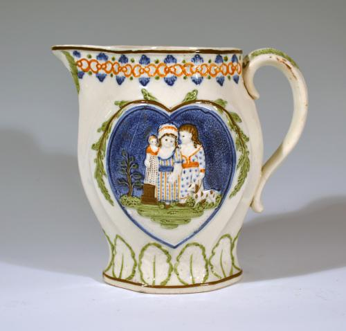 Prattware Pearlware Jug with Children with Heart-shaped Panels