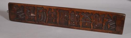 S/3404 Antique Treen 19th Century Fruitwood Gingerbread Mould