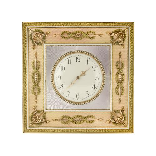 A Fabergé gold-mounted guilloche enamel desk clock