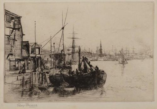 Percy Thomas (1846-1922) The Thames at Rotherhithe. Etching.