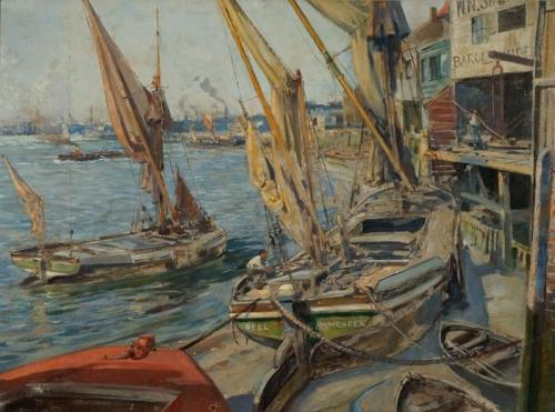 Archibald Bertram Webb (1887-1944). The Riverside at Limehouse, London.