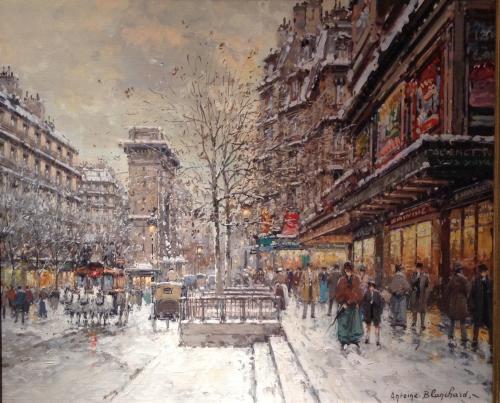 Paris in Winter - Porte St Denis Antoine Blanchard (1910-1988)