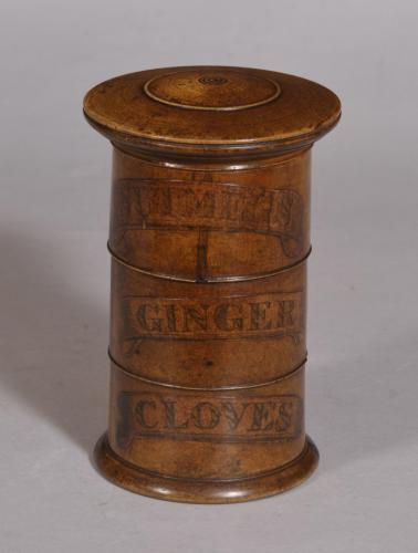 S/3408 Antique Treen 19th Century Sycamore Spice Tower