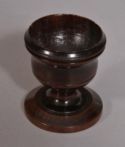 S/3419 Antique Treen 19th Century Mahogany Egg Cup