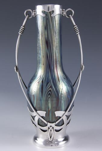 Loetz glass vase in silver mount  Austrian   Circa 1900