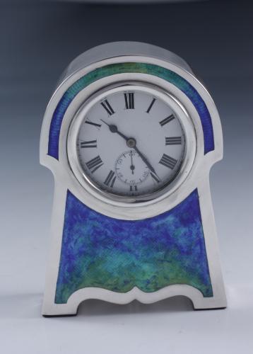 silver & enamel travel clock by Henry Matthews