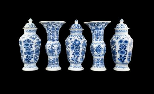 blue and white garniture geometric forms