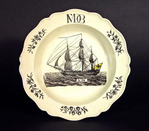 Antique English Wedgwood Creamware Soup Plate with Ship Flying the Flag of the last German Emperor of the Holy Roman Empire, Fra