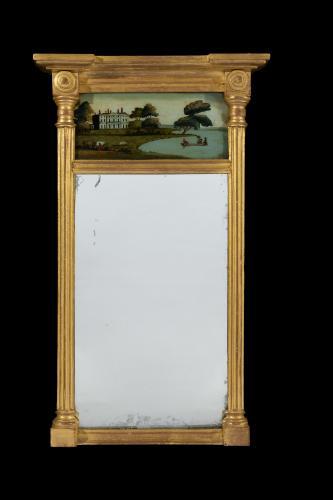 Small Regency Period Early 19th Century Eglomisé Pier Mirror English Circa 1820