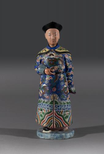Single Early 19th Century Hand Painted Chinese Nodding Figure Chinese Circa 1830
