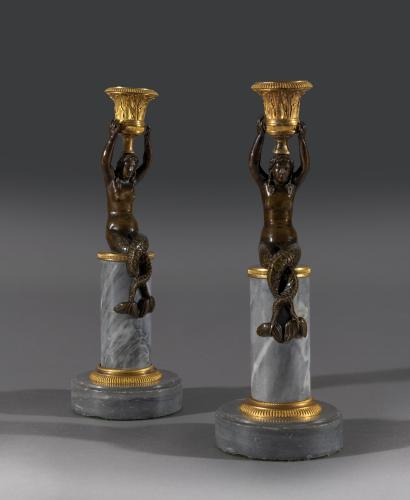 Early 19th Century Regency Bronze & Marble Mermaid Candlestick Figures English Circa 1815