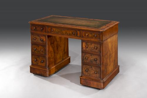 Diminutive 19th Century English Burr Walnut Pedestal Desk of Elegant Proportions English Circa 1860