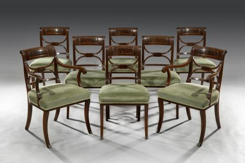 Regency Period Set Of Eight Mahogany & Ebony Inlaid Dining Chairs in the manner of Gillows of Lancaster and London English Circ