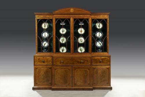 George III Period Mahogany & Satinwood Inlaid 18th Century Breakfront Secretaire Bookcase English Circa 1790