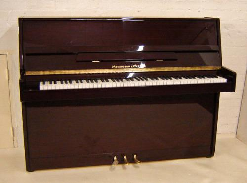 Monington & Weston 108cm modern upright piano dark mahogany polished