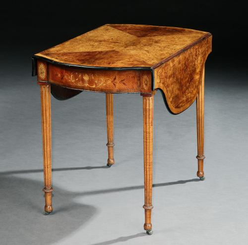 A George III Amboyna and Marquetry Pembroke Table attributed to Henry Hill