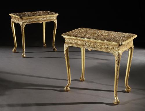 A Pair of George I Gilt Gesso Tables attributed to Elizabeth Gumley