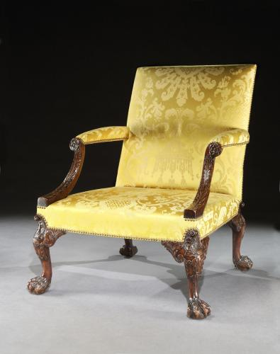 A George II Walnut Gainsborough Chair attributed to Giles Grendey