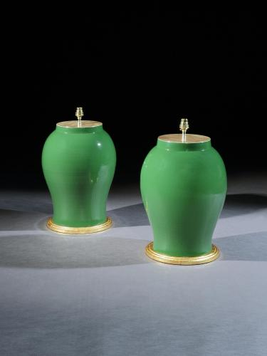 A Pair of Chinese Green Glazed Vases