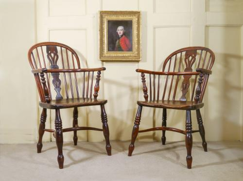 A Pair of 19th Century Low Back Windsor Armchairs