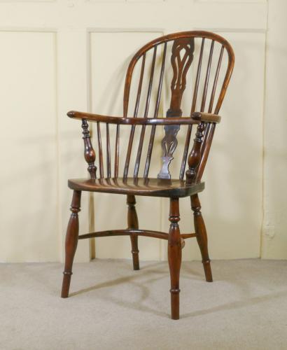 A High Back Yew Wood Windsor Armchair