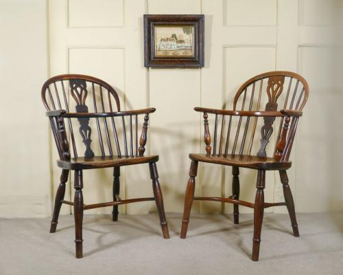A Fine Pair of Yew Wood Low Back Windsor Armchairs