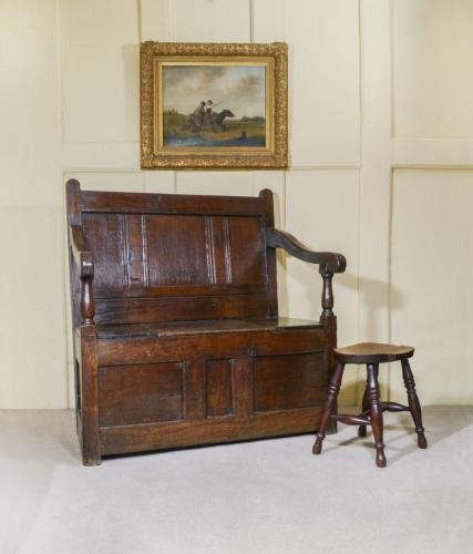 A Small Early 18th Century Oak Box Settle