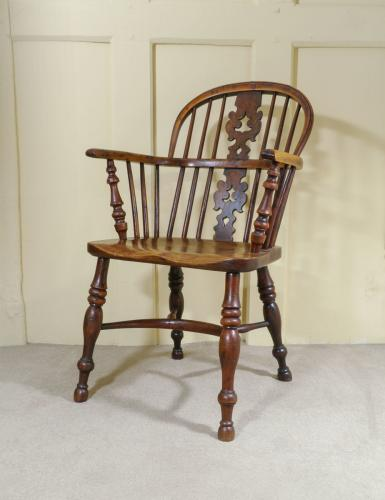 A Fine 19th Century Yew Wood Low Back Windsor Armchair