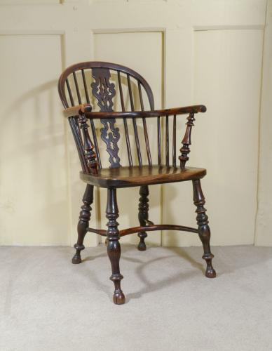 A Rare Yew Wood Low Back Windsor Armchair