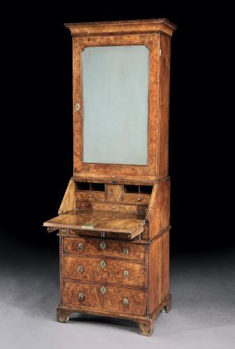 A George I Burr Walnut Bureau Bookcase