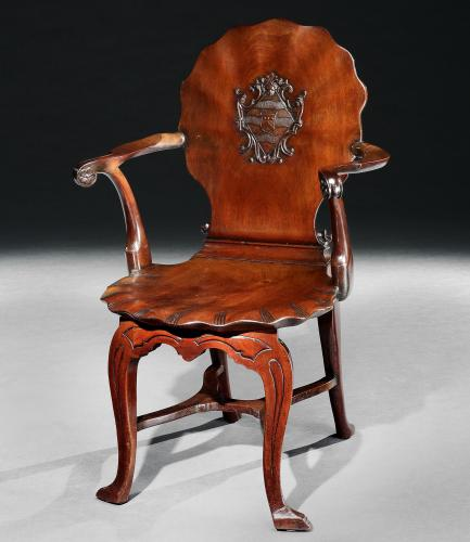 A George II Mahogany Hall Chair Attributed to William Hallett