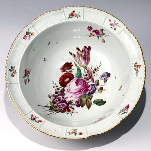 German Porcelain Large Botanical Bowl or Basin,  Ludwigsburg,