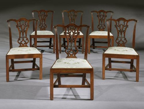 A Set of Six George III Mahogany Side Chairs