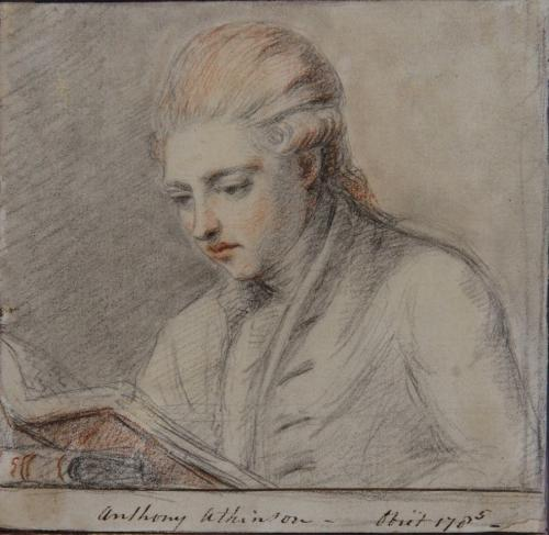 Gainsborough Dupont (British 1754-1797) Portrait of Anthony Atkinson reading a book