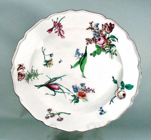 Antique Chelsea Porcelain Large Dish, Red Anchor Period.