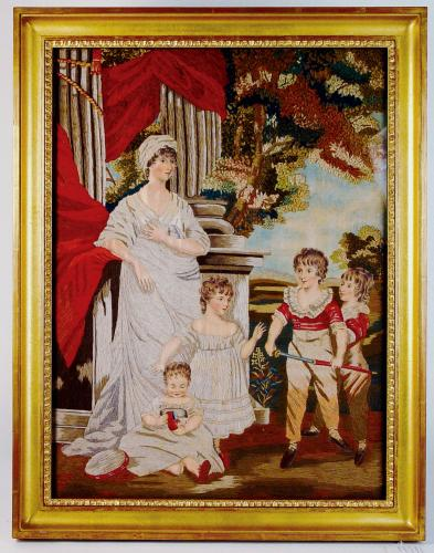Large English Silk and Wool Portrait of Mother & Her Four Children, After John Hoppner R.A., Circa 1810-20.