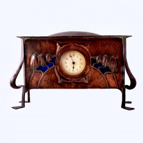 Arts crafts copper clock