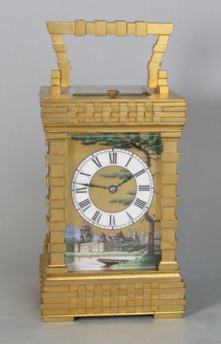 French porcelain dialled blockwork carriage clock