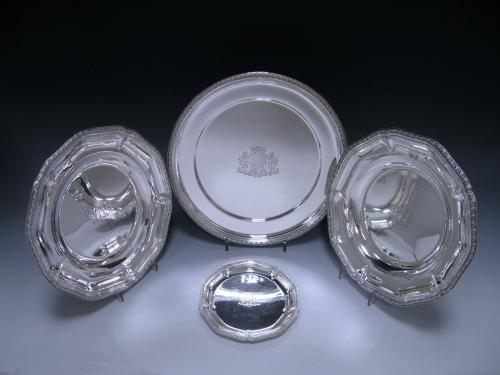 Magnificent French Antique Silver Service of Plates