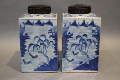 A pair of 18th century chinese blue and white porcelain tea canisters