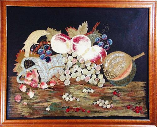 Fine Feltwork Applique of Fruit and Parrot, English.