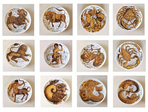 Vintage Piero Fornasetti Porcelain Zodiac Plates, Astrali Pattern, Complete set of Twelve