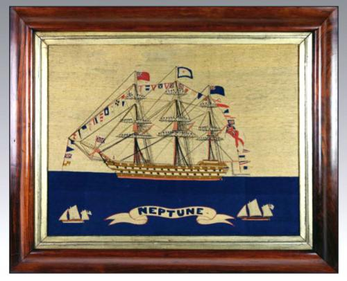 Sailor's Woolwork of HMS Neptune Fully Dressed with Sailors on the Yardarms,  Circa 1865