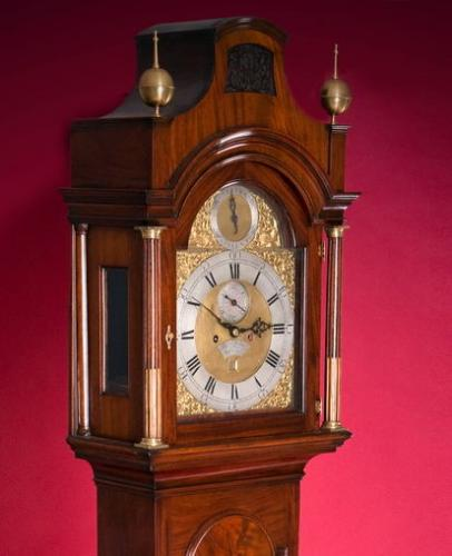 Thomas Battely London Mahognay Longcase Clock hood